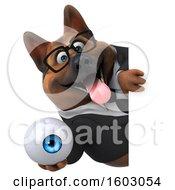 3d Business German Shepherd Dog Holding An Eyeball On A White Background