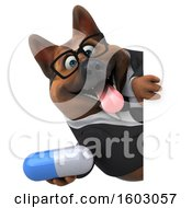 3d Business German Shepherd Dog Holding A Pill On A White Background