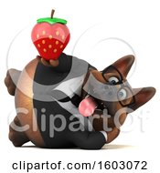 Clipart Of A 3d Business German Shepherd Dog Holding A Strawberry On A White Background Royalty Free Illustration by Julos