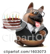 Poster, Art Print Of 3d Business German Shepherd Dog Holding A Birthday Cake On A White Background