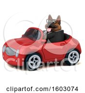 Poster, Art Print Of 3d Business German Shepherd Dog Driving A Convertible On A White Background