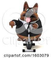 Clipart Of A 3d Business German Shepherd Dog Exercising On A Spin Bike On A White Background Royalty Free Illustration by Julos