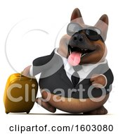 Clipart Of A 3d Business German Shepherd Dog Traveler On A White Background Royalty Free Illustration by Julos