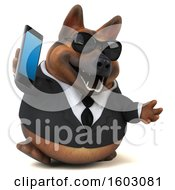 3d Business German Shepherd Dog Holding A Cell Phone On A White Background