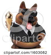 Clipart Of A 3d Business German Shepherd Dog Holding A Waffle Cone On A White Background Royalty Free Illustration by Julos