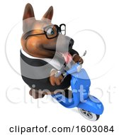 Clipart Of A 3d Business German Shepherd Dog Riding A Scooter On A White Background Royalty Free Illustration by Julos