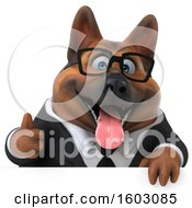 3d Business German Shepherd Dog Holding A Thumb Up On A White Background