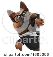 Clipart Of A 3d Business German Shepherd Dog Holding A Thumb Down On A White Background Royalty Free Illustration by Julos