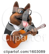 Clipart Of A 3d Business German Shepherd Dog Holding A Guitar On A White Background Royalty Free Illustration by Julos