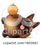 3d German Shepherd Dog Holding An Orange On A White Background