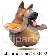 3d German Shepherd Dog Holding A Hot Dog On A White Background