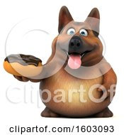 Clipart Of A 3d German Shepherd Dog Holding A Donut On A White Background Royalty Free Illustration by Julos