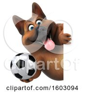 Clipart Of A 3d German Shepherd Dog Holding A Soccer Ball On A White Background Royalty Free Illustration by Julos