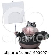3d Business Hippo Holding A Camera On A White Background