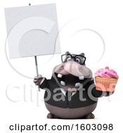 3d Business Hippo Holding A Cupcake On A White Background