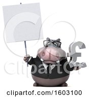 3d Business Hippo Holding A Lira On A White Background
