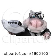 Poster, Art Print Of 3d Business Hippo Holding A Plane On A White Background