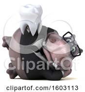 3d Business Hippo Holding A Tooth On A White Background