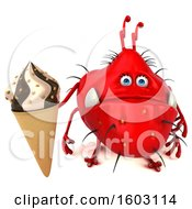 3d Red Germ Monster Holding A Waffle Cone On A White Background