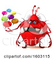 3d Red Germ Monster Holding Messages On A White Background