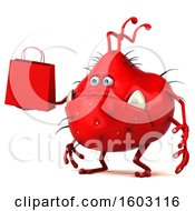 Poster, Art Print Of 3d Red Germ Monster Holding A Shopping Bag On A White Background