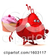 Poster, Art Print Of 3d Red Germ Monster Holding A Cupcake On A White Background