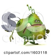 Clipart Of A 3d Green Germ Monster Holding A Dollar Sign On A White Background Royalty Free Illustration