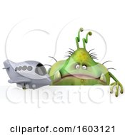 Poster, Art Print Of 3d Green Germ Monster Holding A Plane On A White Background