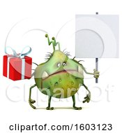 Poster, Art Print Of 3d Green Germ Monster Holding A Gift On A White Background