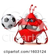 Poster, Art Print Of 3d Red Germ Monster Holding A Soccer Ball On A White Background
