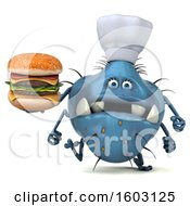 Clipart Of A 3d Blue Chef Germ Monster Holding A Burger On A White Background Royalty Free Illustration