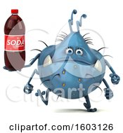Clipart Of A 3d Blue Germ Monster Holding A Soda On A White Background Royalty Free Illustration
