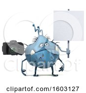 Poster, Art Print Of 3d Blue Germ Monster Holding A Camera On A White Background