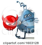 Poster, Art Print Of 3d Blue Germ Monster Holding A Devil On A White Background