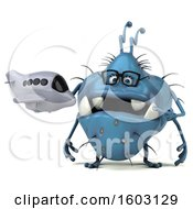 Poster, Art Print Of 3d Blue Germ Monster Holding A Plane On A White Background