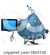 Poster, Art Print Of 3d Blue Germ Monster Holding A Tablet On A White Background