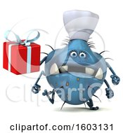 Poster, Art Print Of 3d Blue Chef Germ Monster Holding A Gift On A White Background
