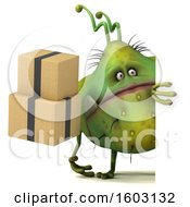 Poster, Art Print Of 3d Green Germ Monster Holding Boxes On A White Background