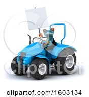 3d Blue Frog Operating A Tractor On A White Background