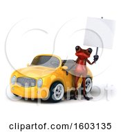 Poster, Art Print Of 3d Yellow Frog With A Convertible On A White Background