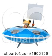 3d Yellow Frog Flying A Ufo On A White Background