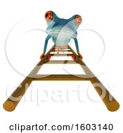 3d Blue Frog Climbing A Ladder On A White Background