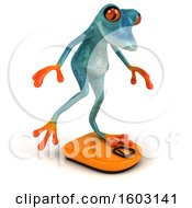 3d Blue Frog On A Scale On A White Background