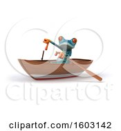 3d Blue Frog Rowing A Boat On A White Background