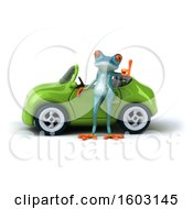Poster, Art Print Of 3d Blue Frog With A Convertible On A White Background