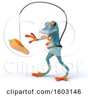 3d Blue Frog Chasing A Carrot On A White Background