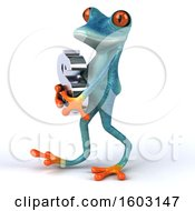 3d Blue Frog Holding A Dollar Sign On A White Background