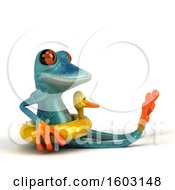 3d Blue Frog Wearing A Duck Inner Tube On A White Background
