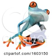 3d Blue Frog Holding A House On A White Background