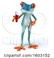3d Blue Frog Holding A Test Tube On A White Background